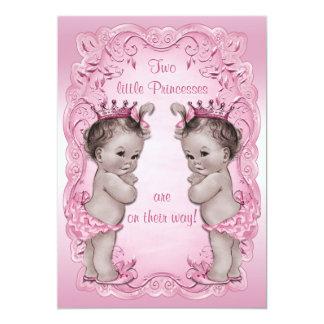 Chá de fraldas cor-de-rosa da princesa Gêmeo do Convite 12.7 X 17.78cm