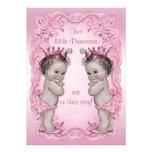 Chá de fraldas cor-de-rosa da princesa Gêmeo do vi Convite Personalizados