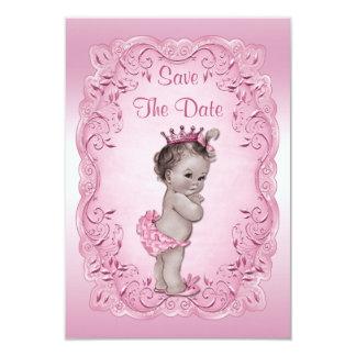 Chá de fraldas cor-de-rosa da princesa Salvamento Convite 8.89 X 12.7cm