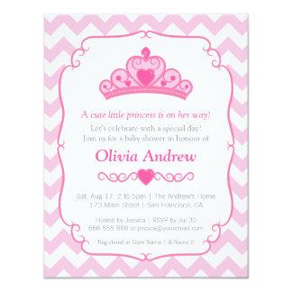 Chá de fraldas cor-de-rosa da princesa Tiara Coroa Convite 10.79 X 13.97cm