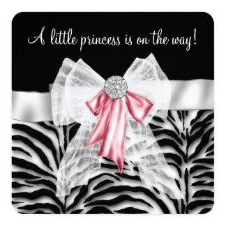 Chá de fraldas cor-de-rosa da zebra convite quadrado 13.35 x 13.35cm