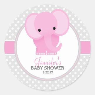 Chá de fraldas (cor-de-rosa) do elefante do bebê adesivo