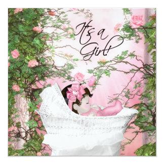 Chá de fraldas cor-de-rosa do jardim de rosas convite quadrado 13.35 x 13.35cm