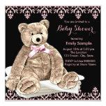 Chá de fraldas cor-de-rosa do urso de ursinho convite