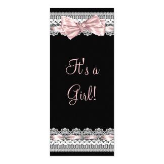 Chá de fraldas cor-de-rosa e preto da fita branca convite 10.16 x 23.49cm