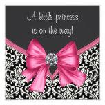 Chá de fraldas cor-de-rosa e preto elegante do convite personalizado