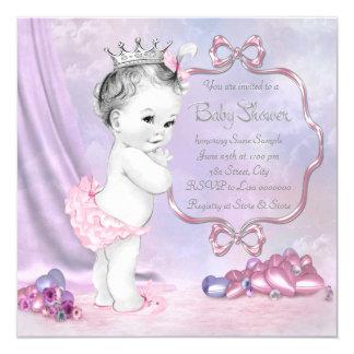 Chá de fraldas cor-de-rosa e roxo elegante convites