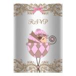 Chá de fraldas cor-de-rosa RSVP da menina do laço  Convite Personalizado