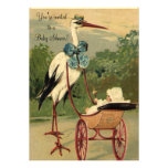 Chá de fraldas da cegonha do Victorian do vintage Convites Personalizados