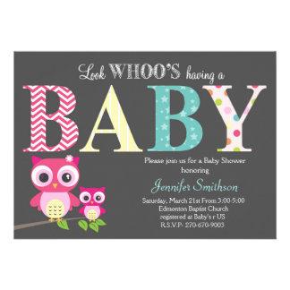 Chá de fraldas da coruja - olhe Whoo tendo um bebê Convites Personalizados