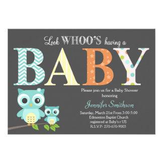 Chá de fraldas da coruja - olhe Whoo tendo um bebê Convite Personalizados