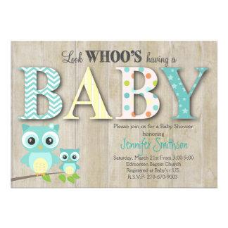 Chá de fraldas da coruja - olhe Whoo tendo um bebê Convite 12.27 X 17.78cm