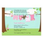 Chá de fraldas da menina 5x7 do rosa do Clotheslin Convite Personalizado
