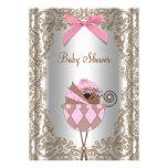 Chá de fraldas da menina do rosa e do afro-america convites personalizados