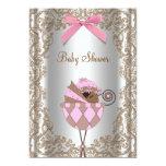 Chá de fraldas da menina do rosa e do convites personalizados