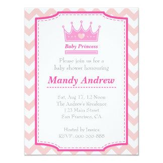 Chá de fraldas da menina - princesa cor-de-rosa convite 10.79 x 13.97cm