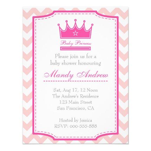 Chá de fraldas da menina - princesa cor-de-rosa do convite