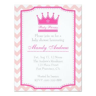 Chá de fraldas da menina - princesa cor-de-rosa do convite 10.79 x 13.97cm