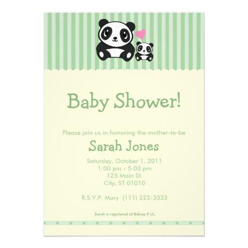 Chá de fraldas da panda - verde & creme convite personalizados