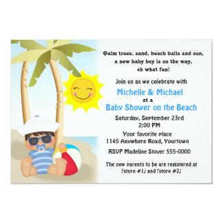 Chá de fraldas da praia com bebê do marinheiro convite 12.7 x 17.78cm