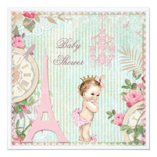Chá de fraldas da princesa chique de Paris do Convite Quadrado 13.35 X 13.35cm