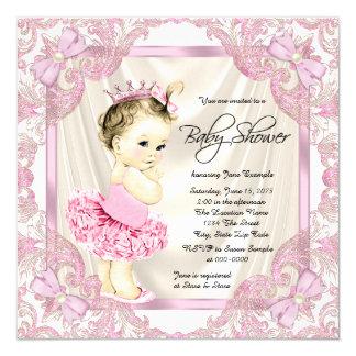 Chá de fraldas da princesa Tutu Pérola Bailarina Convite Quadrado 13.35 X 13.35cm