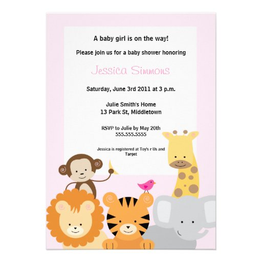 Chá de fraldas da selva do safari - menina convites personalizados
