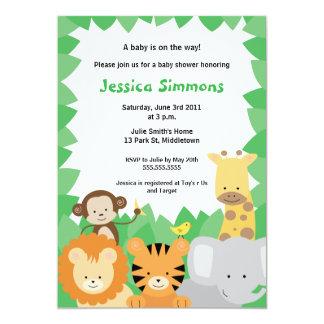 Chá de fraldas da selva do safari - menino/menina convite 12.7 x 17.78cm