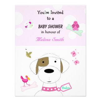 Chá de fraldas das meninas do cão dos desenhos convite personalizados
