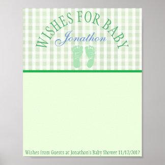 Chá de fraldas, desejos para a lembrança do poster