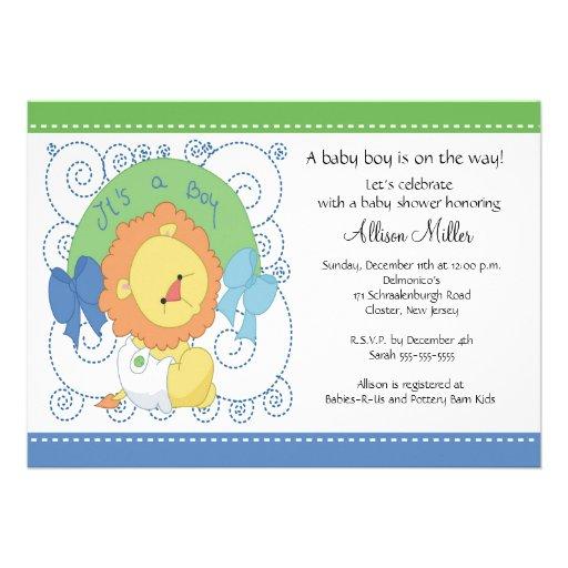 Chá de fraldas do bebé do leão convite personalizados de Zazzle.com