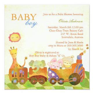 Chá de fraldas do bebé do trem de Choo Choo Convite Quadrado 13.35 X 13.35cm