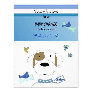 Chá de fraldas do cão dos desenhos animados convite personalizados