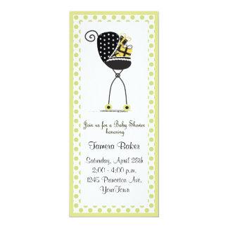 Chá de fraldas do carrinho de criança convite 10.16 x 23.49cm