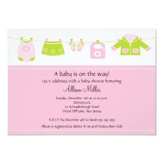 Chá de fraldas do Clothesline da lavanderia do Convite