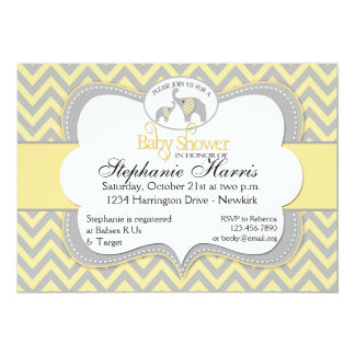 Chá de fraldas do elefante no amarelo e nas cinzas convite 12.7 x 17.78cm