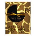 Chá de fraldas do girafa do menino da carruagem de convite personalizado