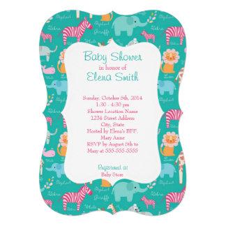 Chá de fraldas do impressão do safari convite personalizado
