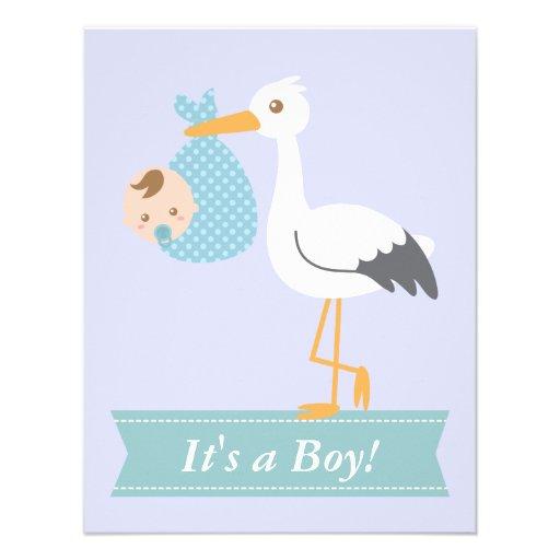 Chá de fraldas do menino - a cegonha entrega o beb convites personalizado