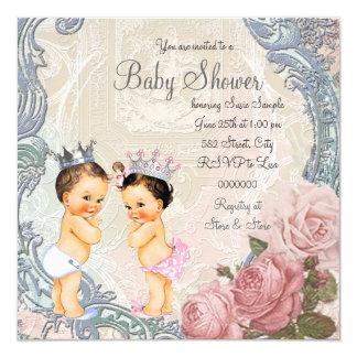 Chá de fraldas do príncipe e da princesa Gêmeo Convite Quadrado 13.35 X 13.35cm