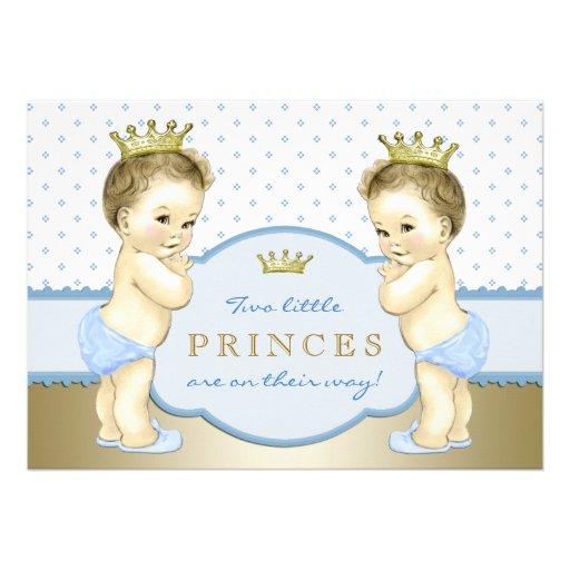 Chá de fraldas do príncipe Gêmeo Menino Convite Personalizados