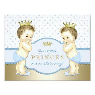 Chá de fraldas do príncipe Gêmeo Menino Convite 10.79 X 13.97cm