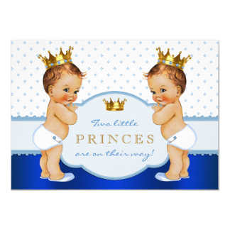 Chá de fraldas do príncipe Gêmeo Menino Convite 11.30 X 15.87cm