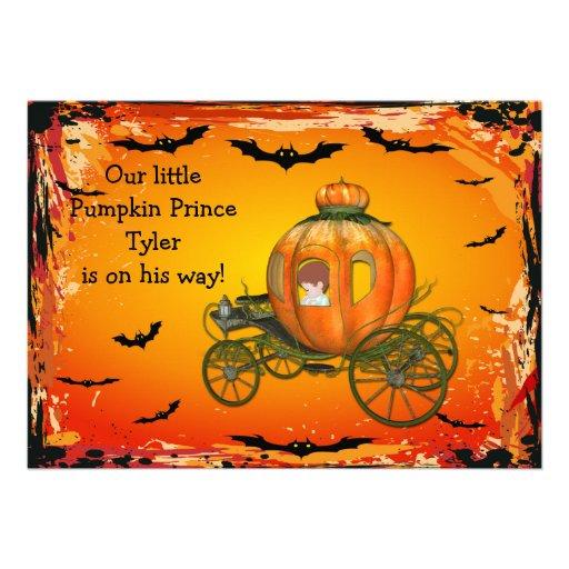 Chá de fraldas do príncipe o Dia das Bruxas Menino Convite Personalizados