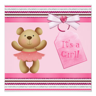 Chá de fraldas do rosa do urso da bailarina convite