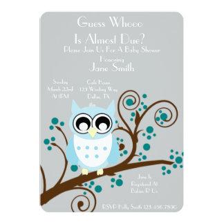 Chá de fraldas do tema da coruja convite 12.7 x 17.78cm