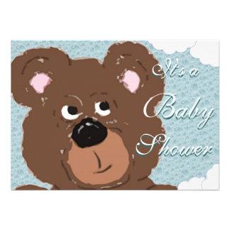Chá de fraldas do urso de ursinho cerceta convites personalizados