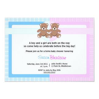 Chá de fraldas do urso de ursinho - menino e convite 12.7 x 17.78cm