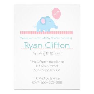 Chá de fraldas Elefante azul bonito com balão cor Convite Personalizado