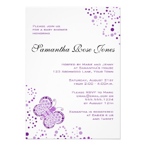 Chá de fraldas elegante da borboleta roxa & branca convites personalizado